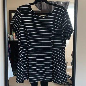 Plus Size Black and White Peplum Top